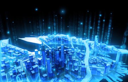 illustration Business media city communication binary code