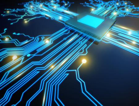 red informatica: ilustración cpu tecnología informática concepto electrónico.
