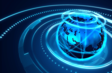 illustration of globe on abstract technology background