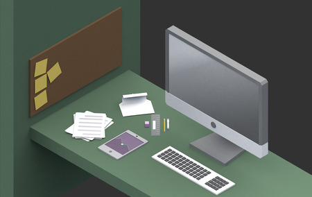 productive: illustration : Productive office workplace. Icons set of business work flow items