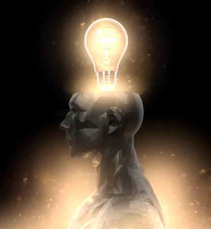 Head idea bulb glow illustration Reklamní fotografie