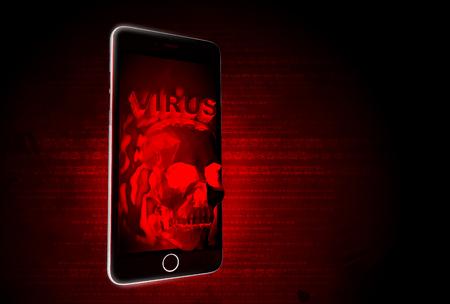 virus protection: Mobile virus hacker RED Alert illustration