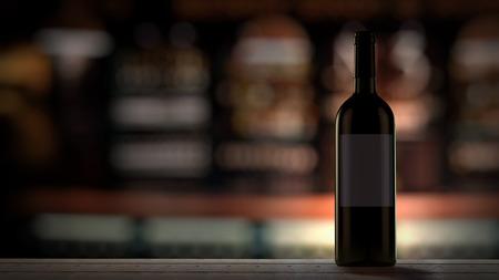 Wine Bottle in a bar Background depth of field