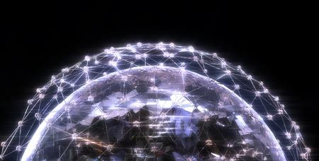 Wire network diamond glow illustration