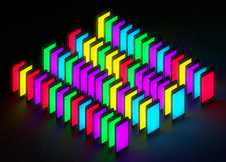 technology concept : Mobile color glow display color ful