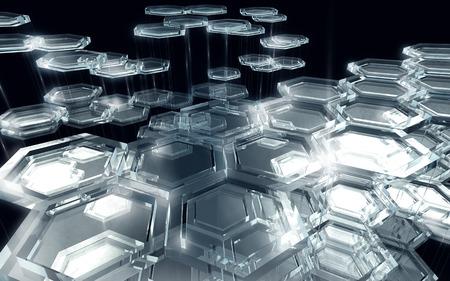 Hexagon Glass Background Technology Glow
