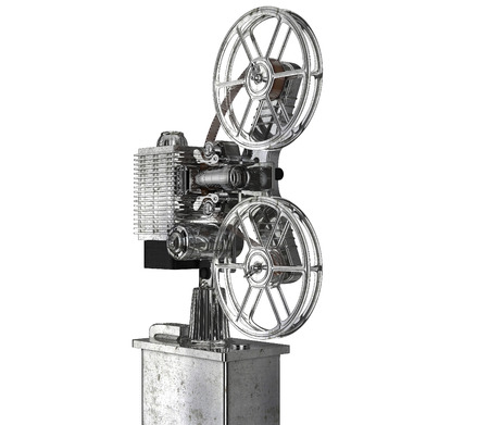 resolution: cinema projector old-fashioned. High resolution. 3D image isolate