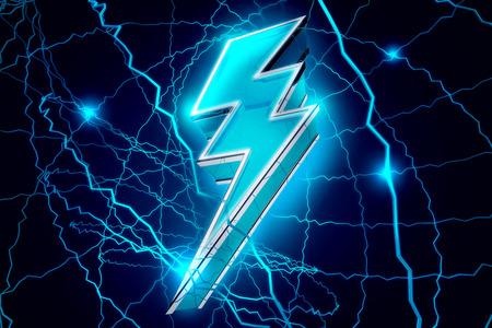 3D Sparkling Lightning Bolt Abstract Background illustration