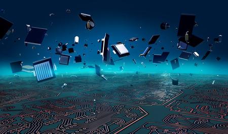 Circuit Board explosion Depth of field