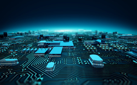 illustration circuit board dept of field Standard-Bild