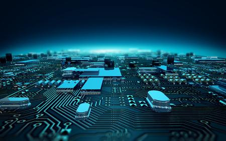 circuito integrado: Ilustración de la placa de circuito dept de campo Foto de archivo