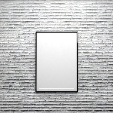 frame wall: Frame white isolate on brick wall