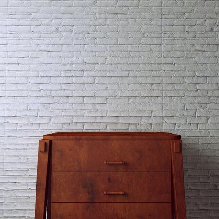 desk on white brick background