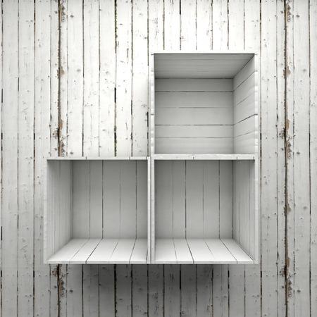Holz-Box Regal auf weiße Wand Standard-Bild - 43737948