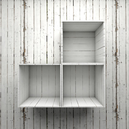 shelve: Wood box shelve on white wall Stock Photo