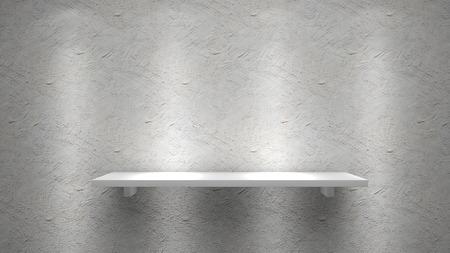 Weiß Regal auf Betonwand Standard-Bild - 43737949