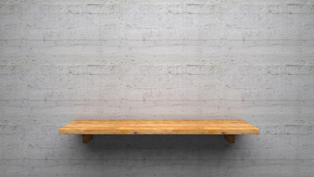 Wood shelve on concrete wall