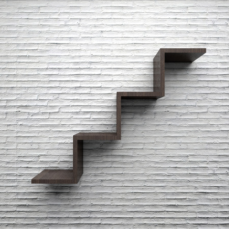 shelve: Wood Shelve stair white brick wall