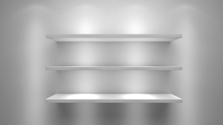 three shelves: three white shelves background illustration Stock Photo