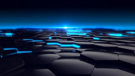 Hexagon-blaue Glühen-Hintergrund Futuristic. 3D übertragen Standard-Bild - 44553415