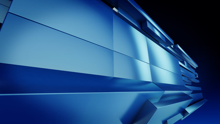 Perppective Geometric blue Background 3d Render Illustration ,Technology