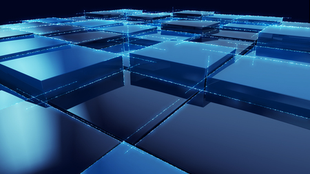 Blauer Würfel Blocks Hintergrund 3D-Render Illustration Standard-Bild - 44584475