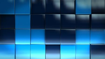 Blue Cube Blocks Background 3d Render Illustration