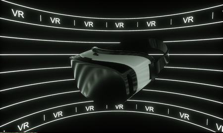 VR glasses, white line glow background