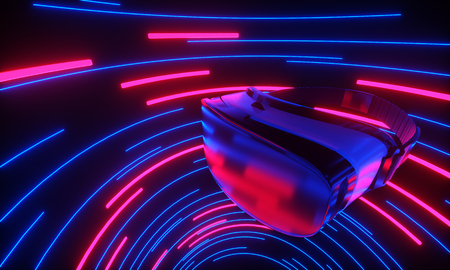 VR glasses, virtual 3d gaming in cyberspace neon