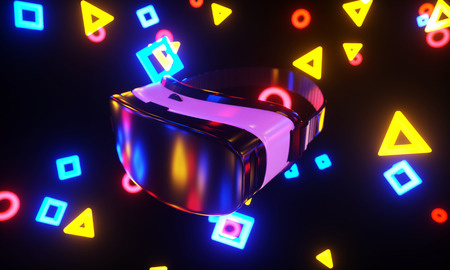 VR glasses, depth of field fun colorful background