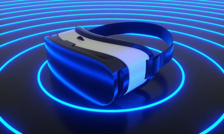 VR glasses, virtual 3d gaming in cyberspace on floor neon