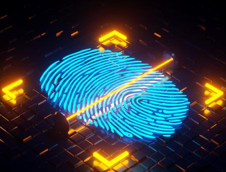 3D illustration. Fingerprint integrated in a printed , Reklamní fotografie