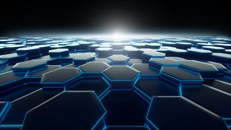 Bienenwaben-blaue Hintergrund-Technologie Standard-Bild - 76323559