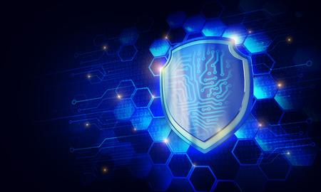 Sicherheitskonzept - Schild auf digitalen Code Hintergrund Illustration Standard-Bild - 76531681