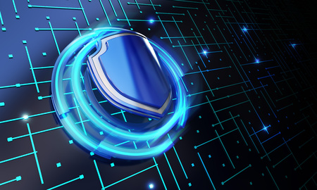 Security concept - shield on digital  background Reklamní fotografie
