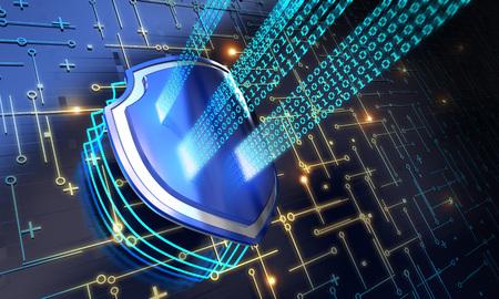 Sicherheitskonzept - Schild auf digitalen Code Hintergrund Illustration Standard-Bild - 76510142