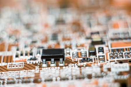 Close up of Electronic Circuits in Technology on   Mainboard (Main board,cpu motherboard,logic board,system board or mobo)