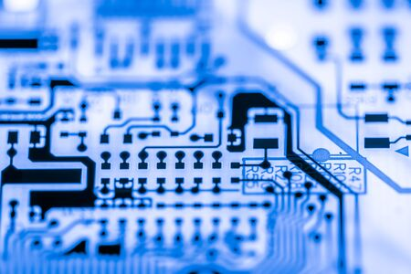 Close up of Electronic Circuits in Technology on Mainboard computer