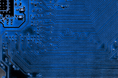 Abstract close up of Electronic Circuits in Technology on Mainboard computer background  (logic board,cpu motherboard,Main board,system board,mobo) Stock Photo