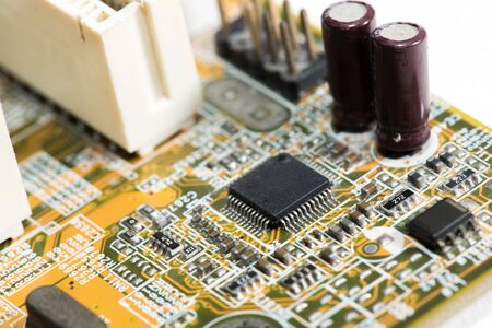 Close up of Electronic Circuits in Technology on Mainboard computer background  (logic board,cpu motherboard,Main board,system board,mobo) Stock Photo
