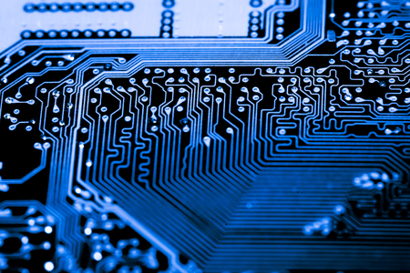 Abstract, close up of Electronic Circuits in Technology on Mainboard computer background  (logic board,cpu motherboard,Main board,system board,mobo) Stock Photo