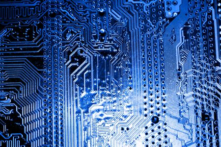 Abstract, Close up at electronic circuits, we see the technology of the mainboard, which is the important background of the computer. (logic board,cpu motherboard,Main board,system board,mobo) Stock Photo