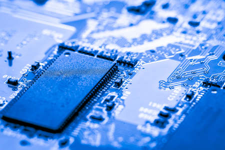 microprocessor: Abstract, close up of Circuits Electronic on Mainboard Technology computer background  (logic board,cpu motherboard,Main board,system board,mobo) Stock Photo