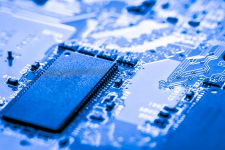 Resumen, cerca de circuitos electrónicos en Mainboard Tecnología de fondo de la computadora (placa lógica, CPU placa base, placa principal, placa del sistema, mobo) Foto de archivo