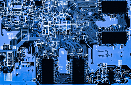 Abstract, close up of Circuits Electronic on Mainboard Technology computer background  (logic board,cpu motherboard,Main board,system board,mobo) Stock Photo