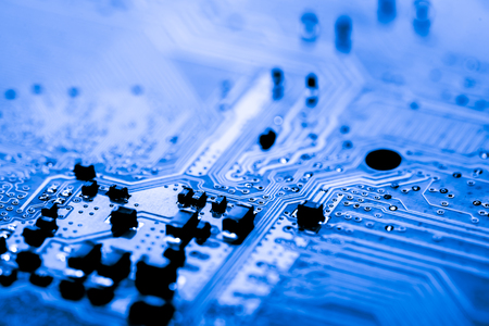 processors: Abstract, close up of Circuits Electronic on Mainboard Technology computer background  (logic board,cpu motherboard,Main board,system board,mobo) Stock Photo