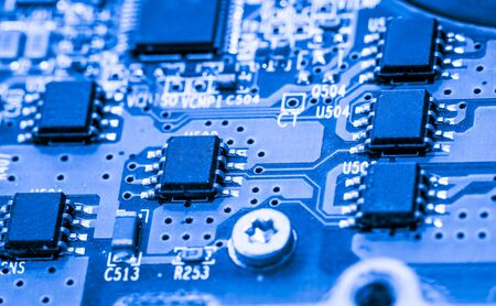 microprocessor: Abstract, close up of Circuits Electronic on Mainboard Technology computer background . (logic board,cpu motherboard,Main board,system board,mobo)