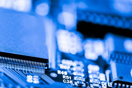 processors: Abstract, Close up at electronic circuits, we see the technology of the mainboard, which is the important background of the computer. (logic board,cpu motherboard,Main board,system board,mobo) Stock Photo