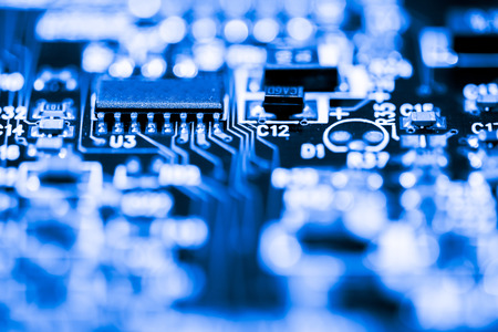 microprocessor: Abstract, Close up at electronic circuits, we see the technology of the mainboard, which is the important background of the computer. (logic board,cpu motherboard,Main board,system board,mobo) Stock Photo