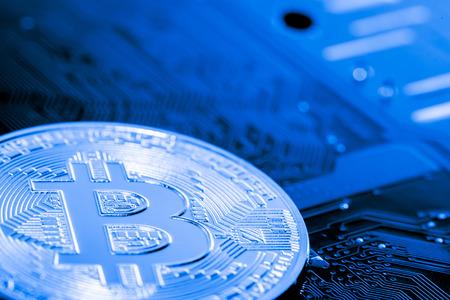 Abstract,Golden Bitcoin money on computer.